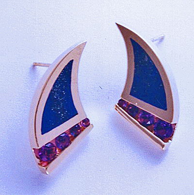 Gold, Amethyst, and Lapis Earrings