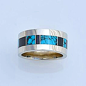 White gold Wedding Band with Turquoise and Black Jade Inlay