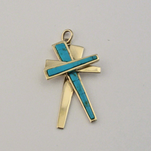 G0018 14 Karat Gold and Turquoise Cross Pendant