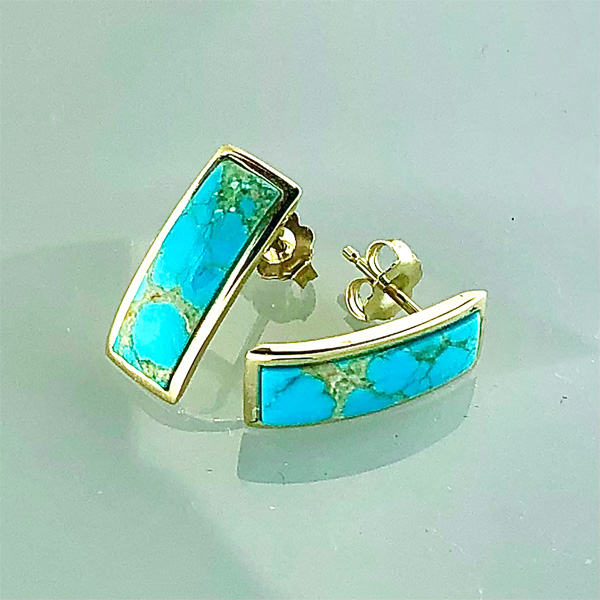 14 karat gold earrings with Turquoise inlay