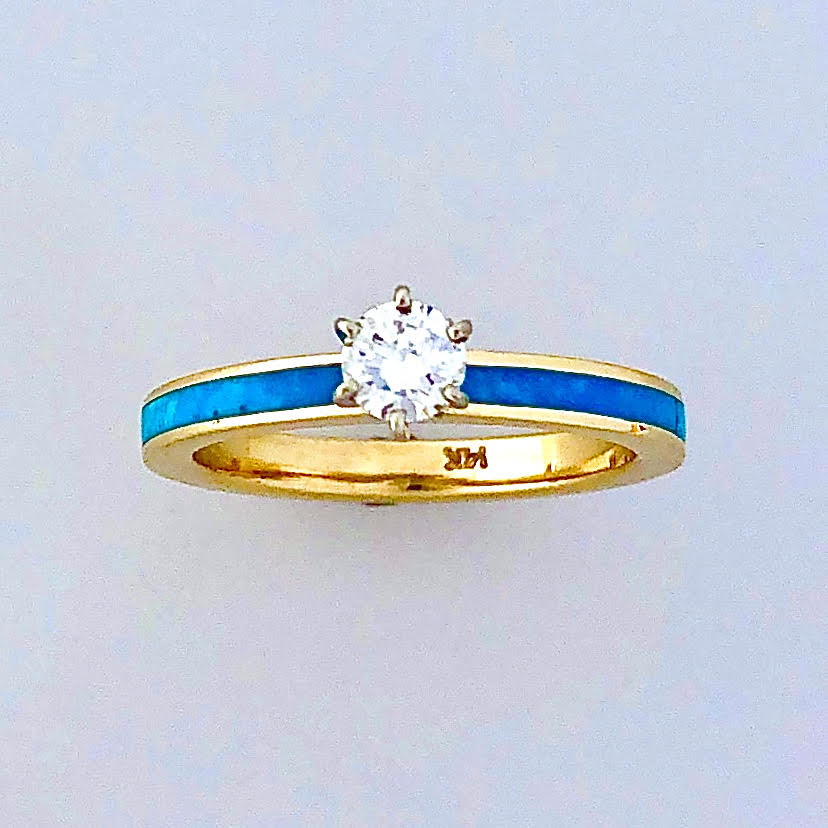 14 karat gold Engagement Ring 3mm wide for a head set center stone