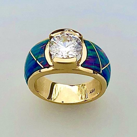 14 karat yellow Gold with Diamond and Cultured Opal Inlay by Southwest Originasl 505-363-7150
