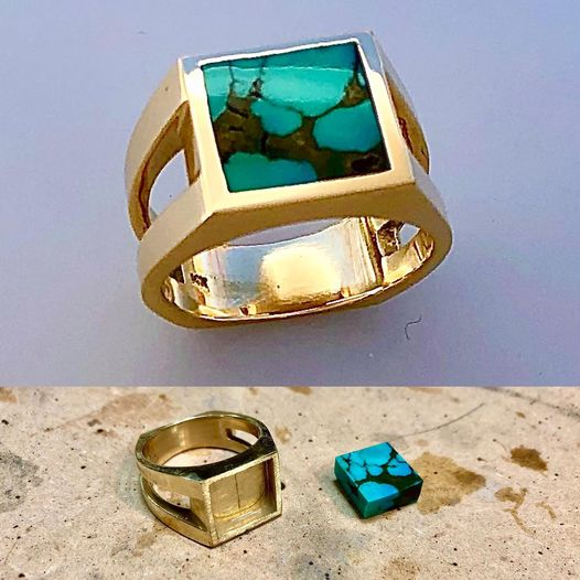 14 karat yellow gold ring with beautiful Green Turquoise by Southwest Originals