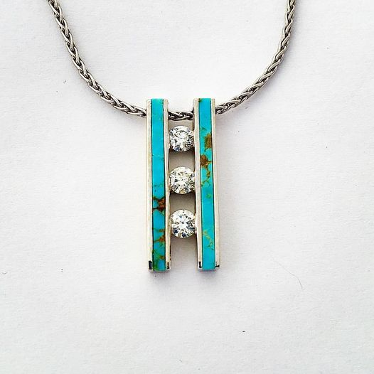 14k White Gold Pendant with Turquoise and Diamonds by Soutwest Originals