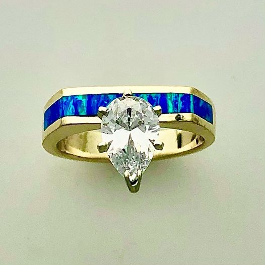 Cultured Opal Inlay with a Pear Shape Diamond in 14 karat Yellow Gold by Southwest Originals