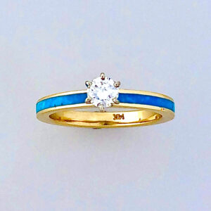 Engagement Ring with Turquoise Inlay 3mm #G0164