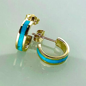 Gold and Turquoise Earrings small hoop #SWGE0014