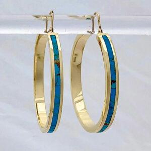 Turquoise Hoop Earrings 40 mm #SWGE0001A