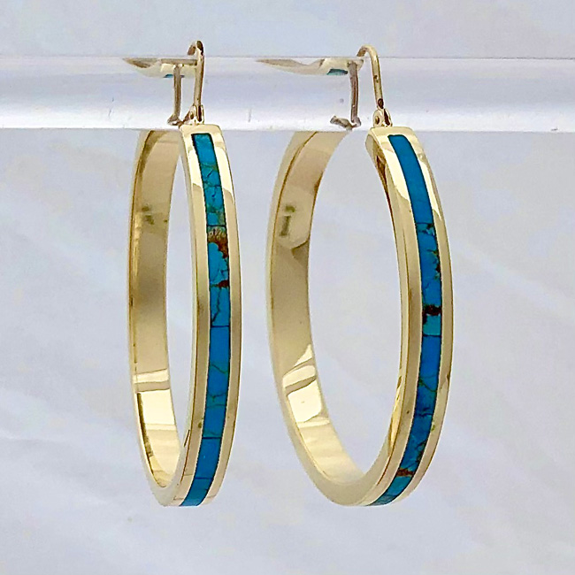 Turquoise Hoop Earrings 40 mm by Southwest Originals