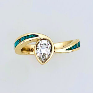 Turquoise Ring with Pear Shape Diamond #SWE0004A